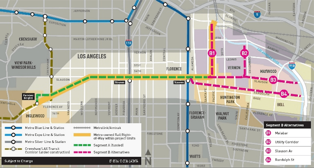 A map of the Rail-to-River bike and pedestrian path planned for the Slauson corridor in South and Southeast Los Angeles. Source: Metro