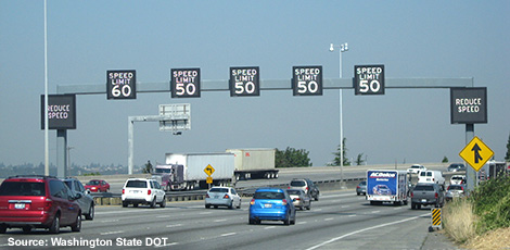Dynamic speed limit signs over each lane on Washington highway. Photo source: Washington Sate DOT