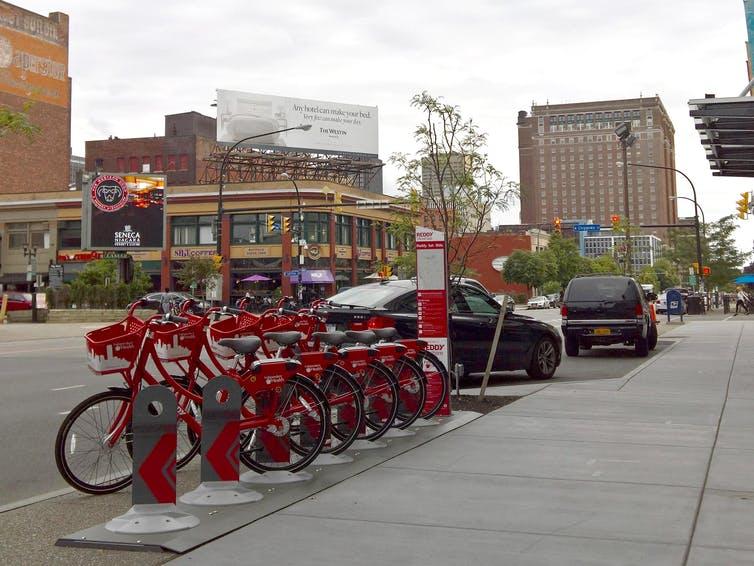Rack of rental bikes.